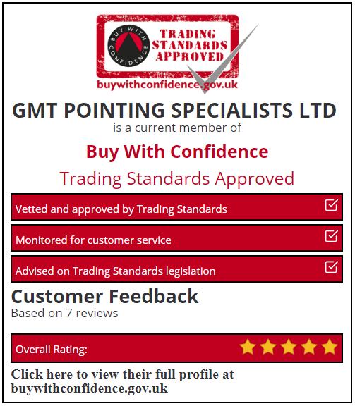 GMT Pointing are Trading Standards 							  Approved
